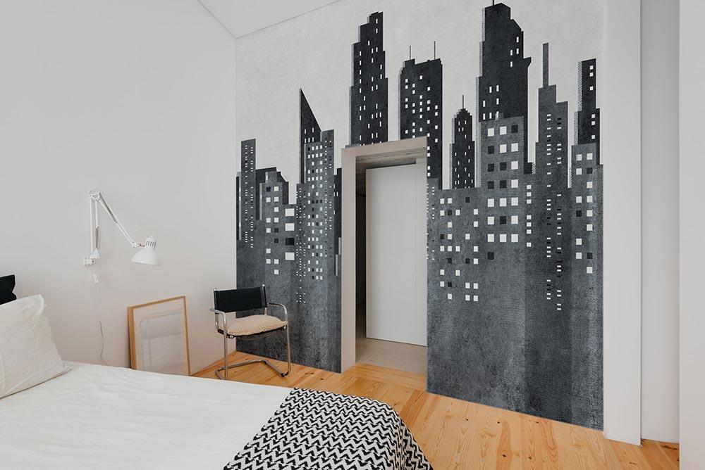 Camera da letto con carta da parati Tribeca