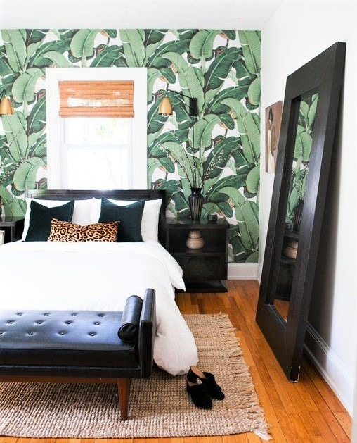 camera da letto con carta da parati jungle