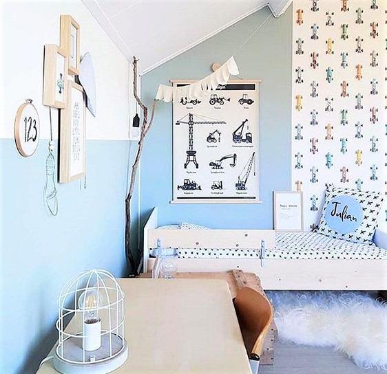 camera per maschietti con pareti azzurre