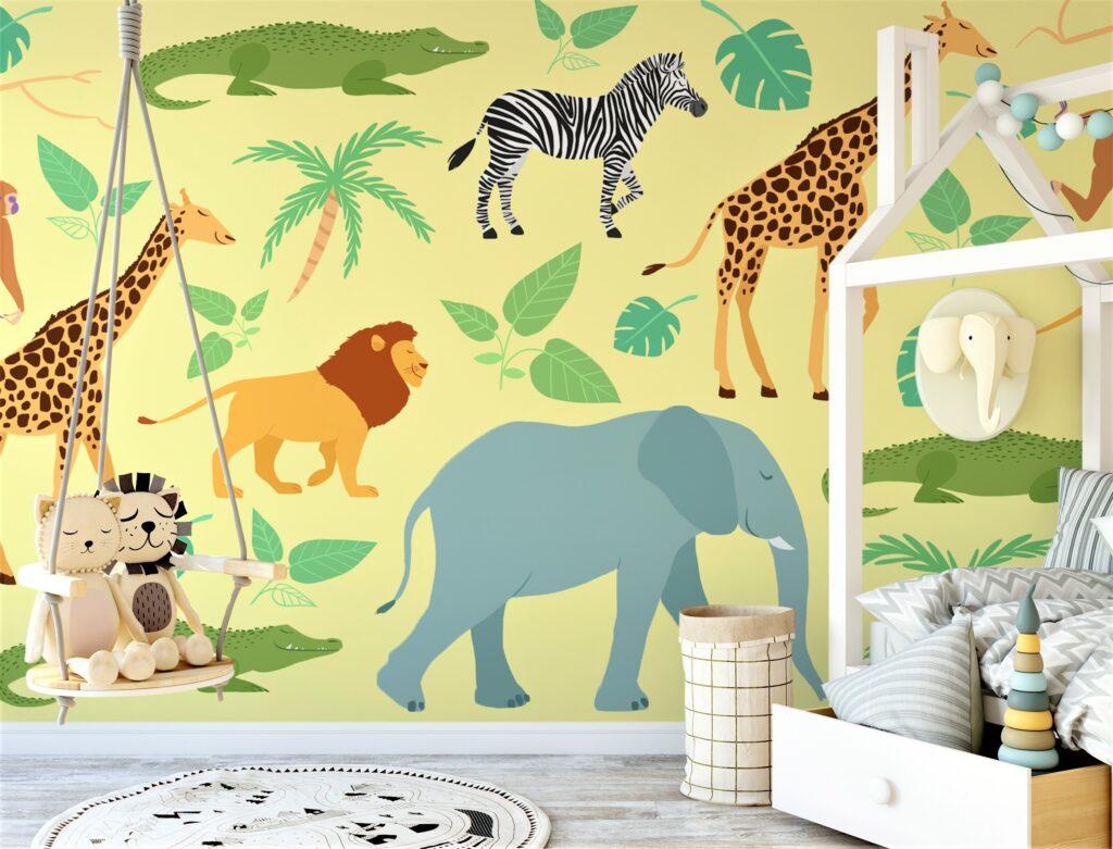 carta da parati con animali della savana e altalena