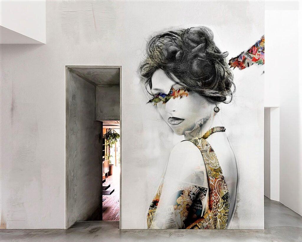 donna con vestito colorato e sguardo meraviglioso