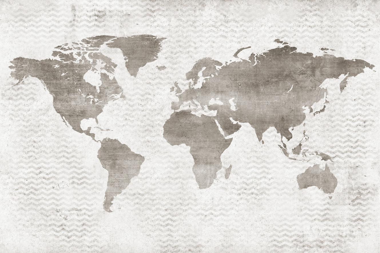 Cartina Geografica Del Mondo In Bianco E Nero.Gea Cartilla Carta Da Parati Urban Bicolore Con Mappamondo