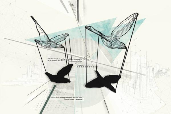 mesh birds azzurro carta da parati urban
