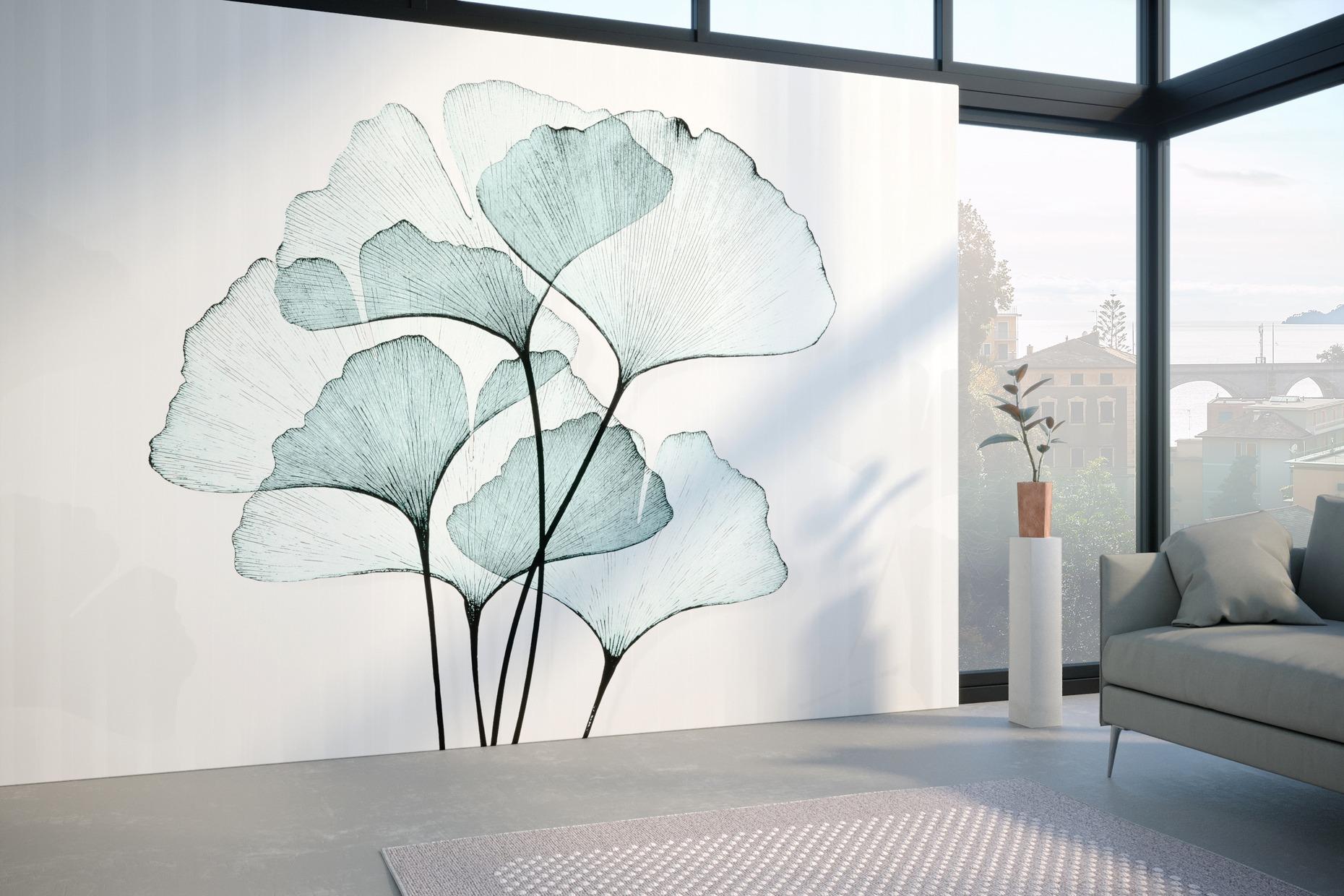 x-ray azzurro carta da parati floreale