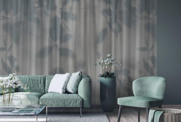 Voile grigio carta da parati per soggiorno con effetto tenda