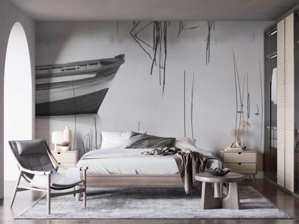 carta da parati per camera da letto con barca modello tahoe su toni bianco nero
